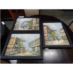 LOT OF 3 STREET SCENES OIL ON CANVAS IN BLACK FRAMES