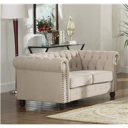 BEIGE BEST MASTER FURNITURE 2 SEAT SOFA, NEW, NEEDS HARDWARE
