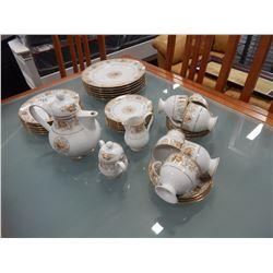 LOT OF NORITAKI IRELAND BONE CHINA, TEAPOT CREAM AND SUGAR, 6 PLACE PLATE SETTING AND 6 CUPS AND SAU