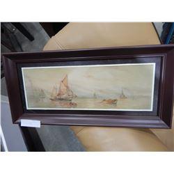 SIGNED PASTEL SHIP SCENE NM BROWN 1925 IN FRAME