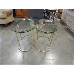 PAIR OF OVAL BRASS AND GLASS SIDE TABLES