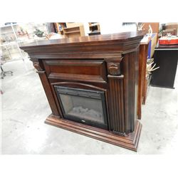 MAHOGANY FINISH FIREPLACE MANTLE AND COLEMAN ELECTRIC FIREPLACE