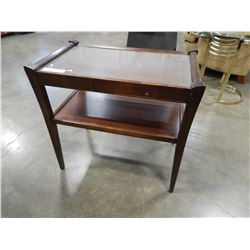 WALNUT GLASS TOP END TABLE
