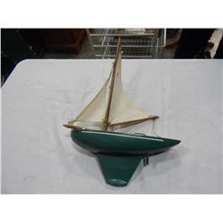 WOOD AND METAL SAIL BOAT TOY