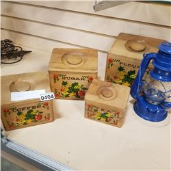 WOOD CANNISTER SET AND BLUE OIL LANTERN