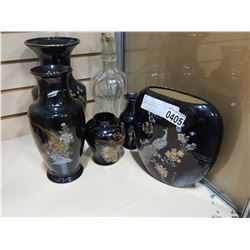 LOT OF EASTERN VASES AND LIQUOR DECANTERS