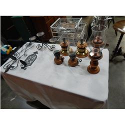 MAPLE AND GLASS CANDLE HOLDERS AND METAL CANDLE HOLDERS