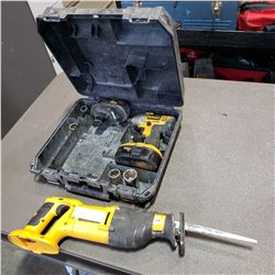 DEWALT CORDLESS RECIPROCATING SAW AND DRILL WITH 2 BATTERIES NO CHARGER