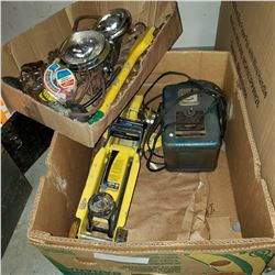 BOX OF ASSORTED TOOLS WITH JACK, DRILL BITS, HEAT GUN, ETC