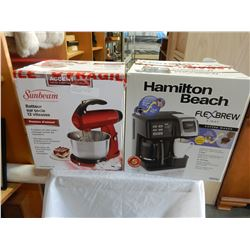 SUNBEAM 12 SPEED MIXER AND HAMILTON BEACH FLEX BREW COFFEE MAKER