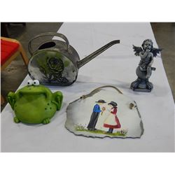 HAND PAITNED STONE PLAQUE WITH VINTAGE WATER CAN AND ANGEL FIGURE AND FROG COIN BANK
