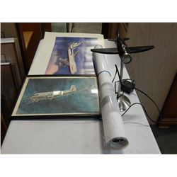 LOT OF AIRPLANE MEMORABILIA 2 POSTERS, LAMP, PRINT