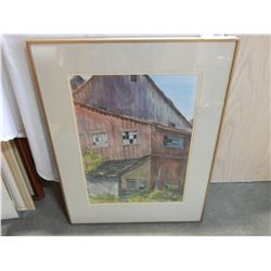 SIGNED WATERCOLOR PRETTYS BARN HARRISON MILLS IN FRAME