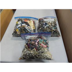 3 LARGE BAGS OF JEWELRY