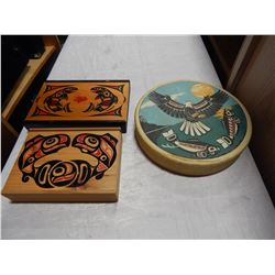 NATIVE DRUM AND 2 NATIVE BOXES