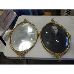 2 ANTIQUE BRASS PICTURE FRAMES WITH OVAL GLASS