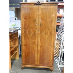 ANTIQUE WALNUT 2 DOOR WARDROBE WITH KEY