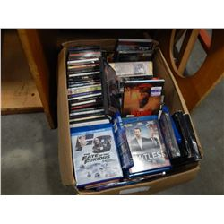 LARGE BOX OF CDS AND BLURAYS