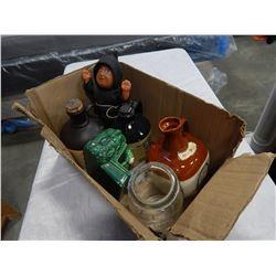 BOX OF STONEWARE LIQUOR JUGS, ETC