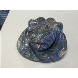 NATIVE CERAMIC FROG SIGNED WITH SMALL CHIP