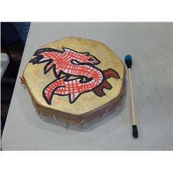 HAND PAINTED HIDE DRUM WITH STICK