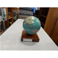 MINI GLOBE ON WOOD STAND WITH SMALL DENT