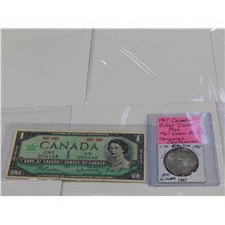 1967 CANADIAN SILVER DOLLAR .800 SILVER PLUS CENTENNIAL DOLLAR BILL