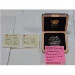 1988 SEOUL OLYMPIAD 3000 WON .925 SILVER IN CASE