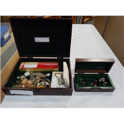 JEWELRY BOX OF NECKLACES AND BOX OF RINGS