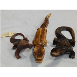 3 WOOD CARVINGS, 2 LIZARDS AND CROCODILE