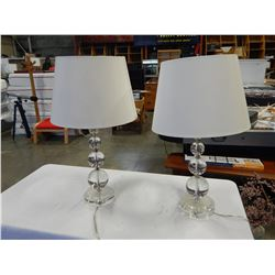 PAIR OF GLASS TABLE LAMPS WITH SHADES