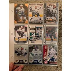 BINDER OF VARIOUS VANCOUVER CANUCKS NHL PLAYER HOCKEY CARDS