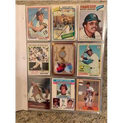 BINDER OF APPROX 100 MLB VINTAGE BASEBALL CARDS