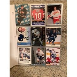 BINDER OF VARIOUS NHL VANCOUVER CANUCKS PLAYER CARDS