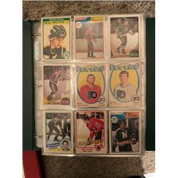 BINDER OF 400+ VINTAGE AND CURRENT NHL HOCKEY ROOKIE, SUPERSTAR AND INSERT CARDS, APPROX BOOK VALUE