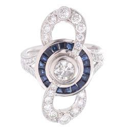 Art Deco Infinity Diamond & Sapphire Platinum Ring