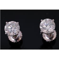Vintage Estate 2.10 ct. Diamond 18K Stud Earrings