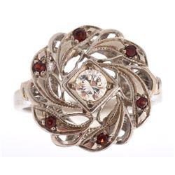 Pre-1920's Art Deco European Diamond & Garnet Ring