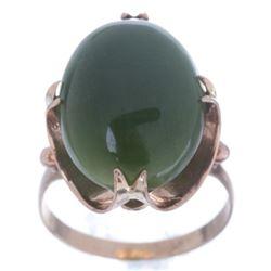 1930's 10.75 ct Apple Jade & 14K Gold Ring