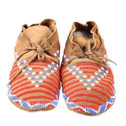 Apache Beaded Hard Sole Moccasins Mid-1900