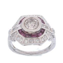 Art Deco Diamond & Ruby Platinum Engraved Ring