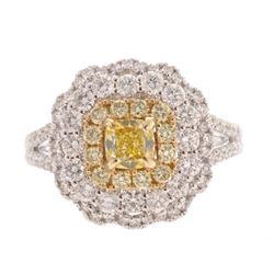 Art Nouveau Fancy Yellow & VS2 Diamond 14K Ring