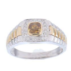 Vintage Men's Fancy Colored Diamond 14K Gold Ring