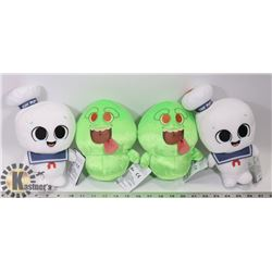 BOX OF GHOSTBUSTERS PLUSHIES.