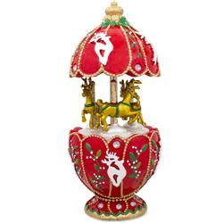 Hand-painted Russian Faberge-style Animated Egg, Christmas Carousel Music Box