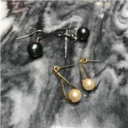 Two Pairs Vintage Gold & Silver Pearl Earrings