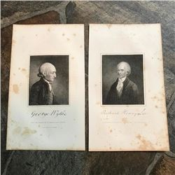 Longacre Engravings, 18thc Virginia Statesmen, Declaration of Independence Signatories