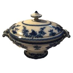 Late 19thc Furnival & Sons Bombay Flow Blue Large Tureen
