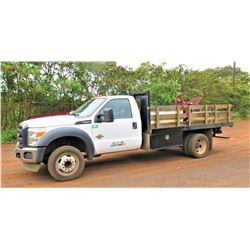 2016 Ford Stake Bed Truck, w/Fuel Tank ,Pump &  Hose  40,950 Miles,  (Runs and Drives)