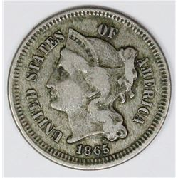 1865/865 DOUBLE DATE THREE CENT NICKEL